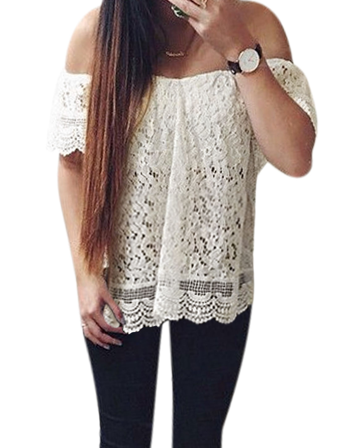 Woman Off Shoulder Partially Lined Floral Design Lace Top White S