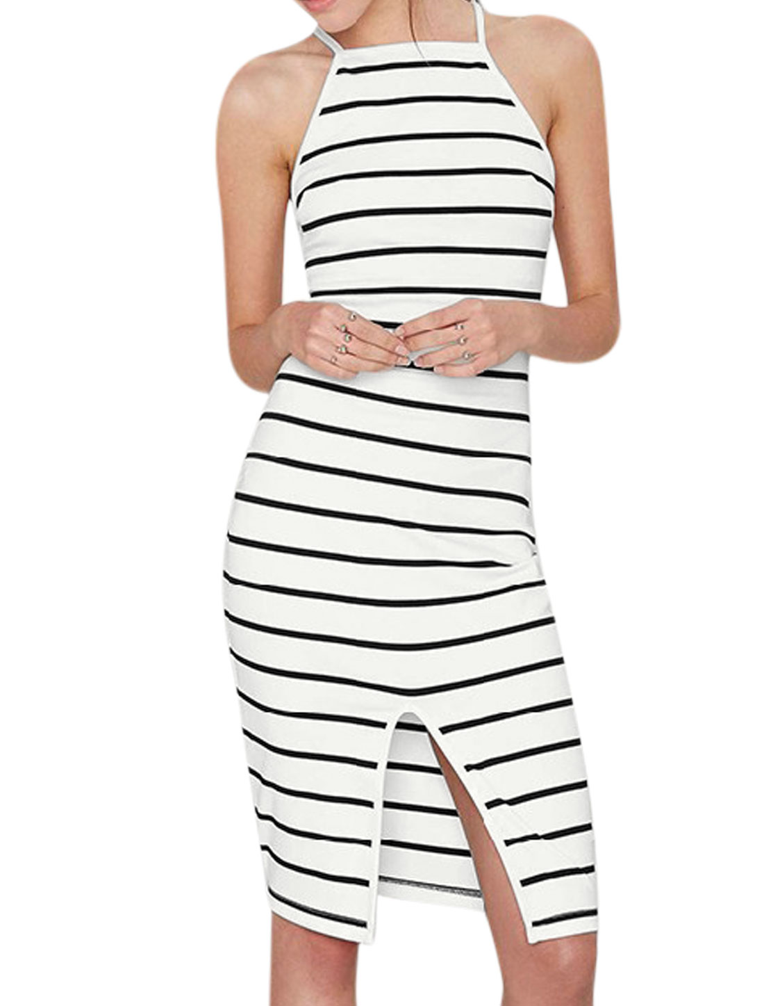 Woman Stripes Halter Neck Sleeveless Front Vent Unlined Sheath Dress Black White S