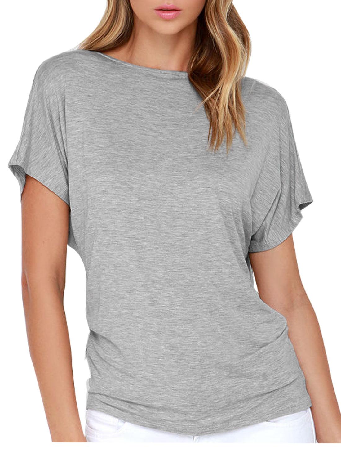 Women Short Raglan Sleeve Summer Casual Tops Light Gray M