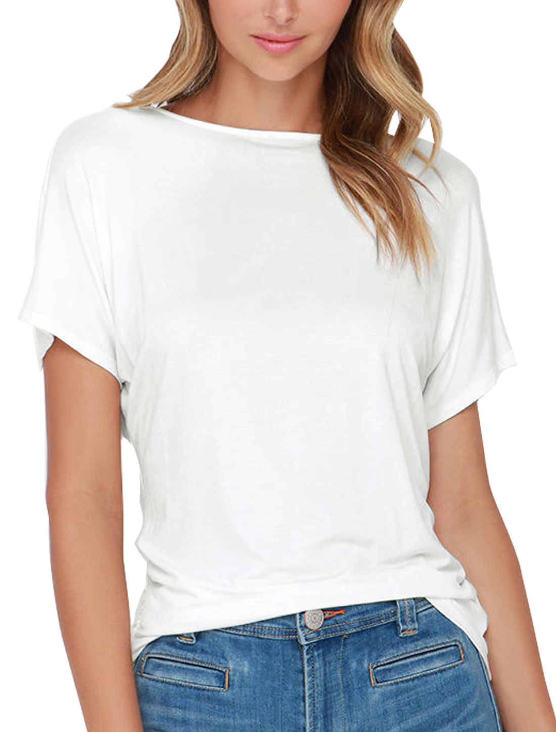 Women Round Neck Crossover V Back Leisure Shirt White M