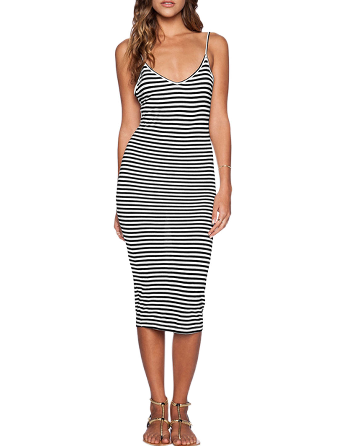 Woman Stripes Deep V Neck Spaghetti Straps Unlined Sheath Dress Black White M