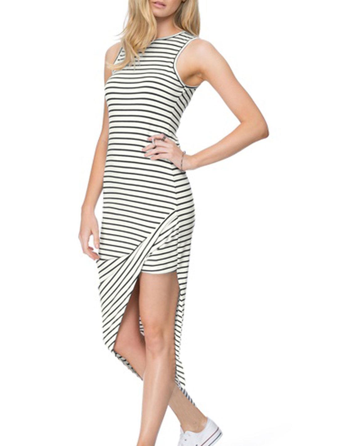 Ladies Round Neck Asymmetric Hem Casual Dress Black Off White S