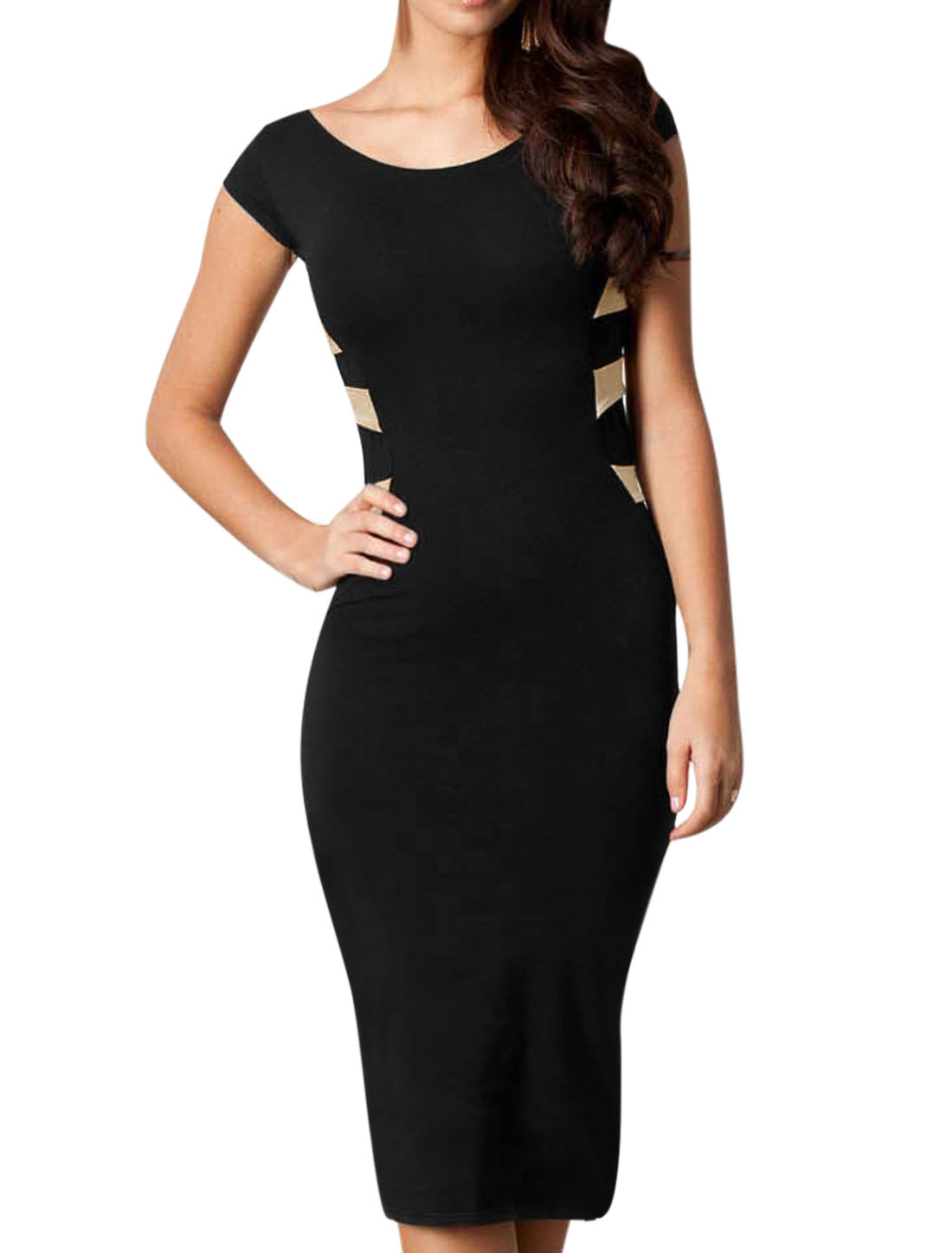 Ladies Cap Sleeve Round Neck Cut Out Back Casual Sheath Dress Black M