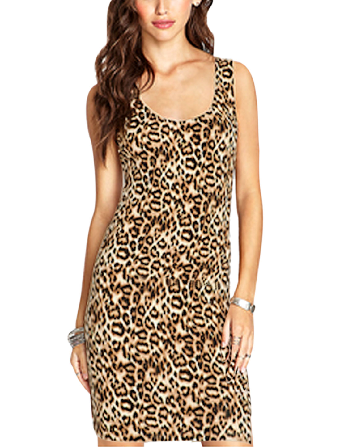 Woman Leopard Prints Scoop Neck Sleeveless Bodycon Dress Beige Brown S