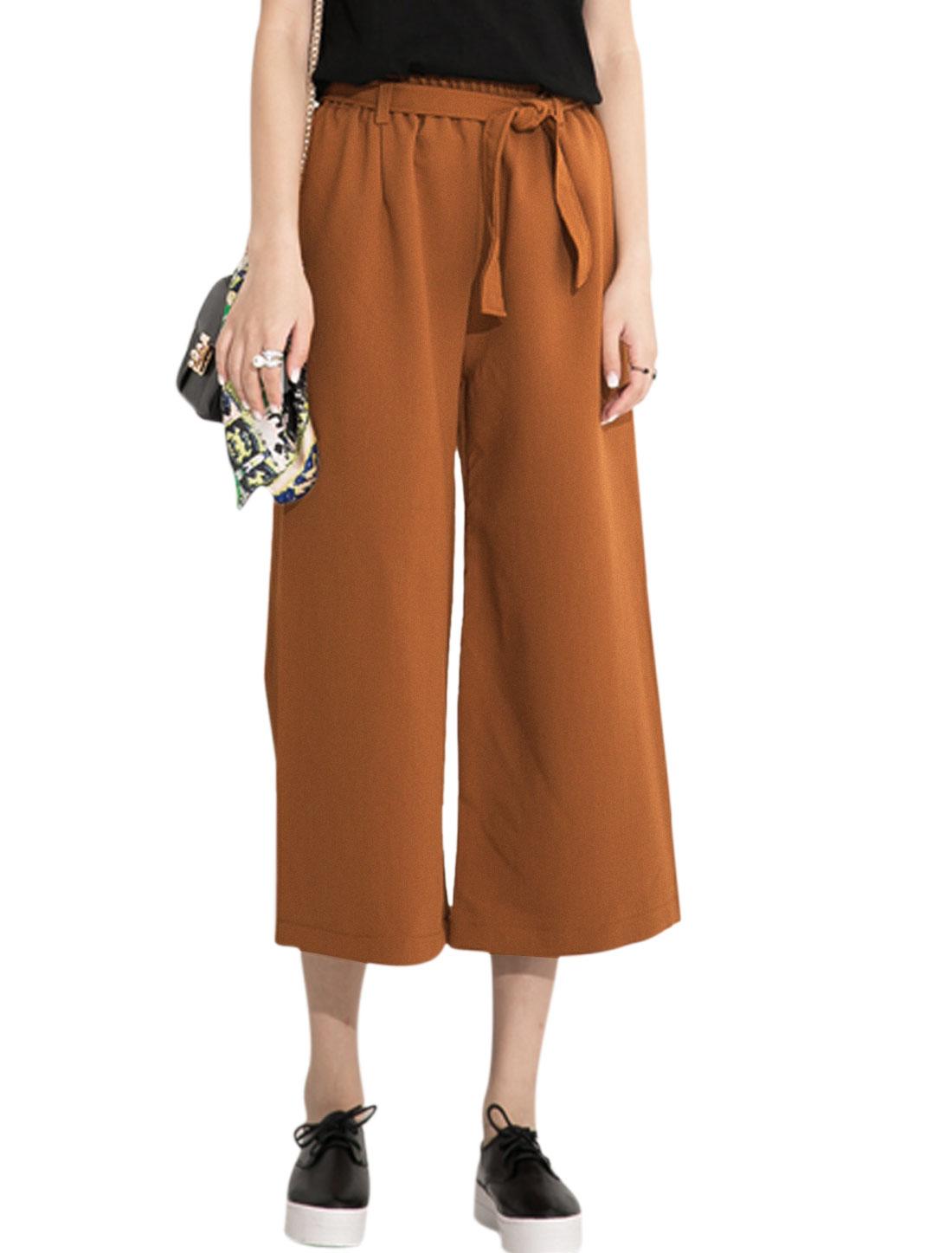 Women Elastic Waist Cropped Slanted Pockets Wide Leg Pants Rust XS