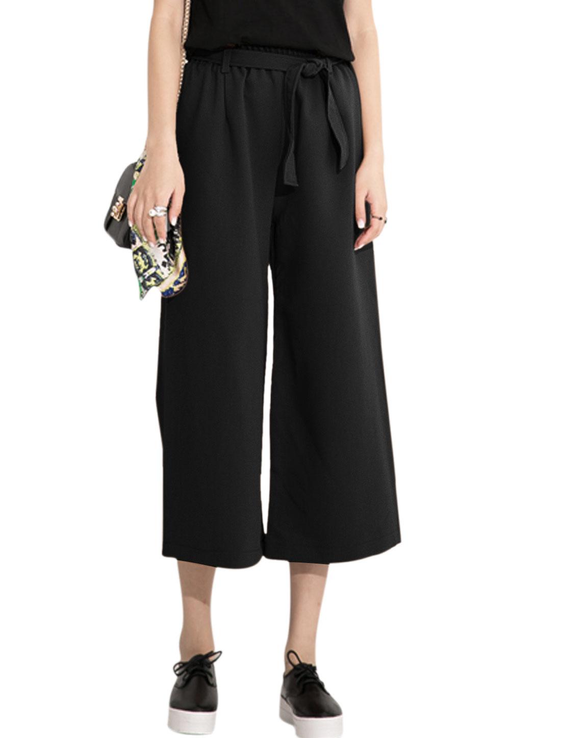 Ladies Elastic Waist Two Pockets Front Wide Leg Pants Black XS