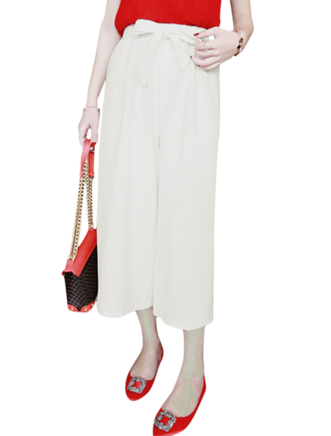 Lady High Rise Stretchy Waist Cropped Wide Leg Pants White XS