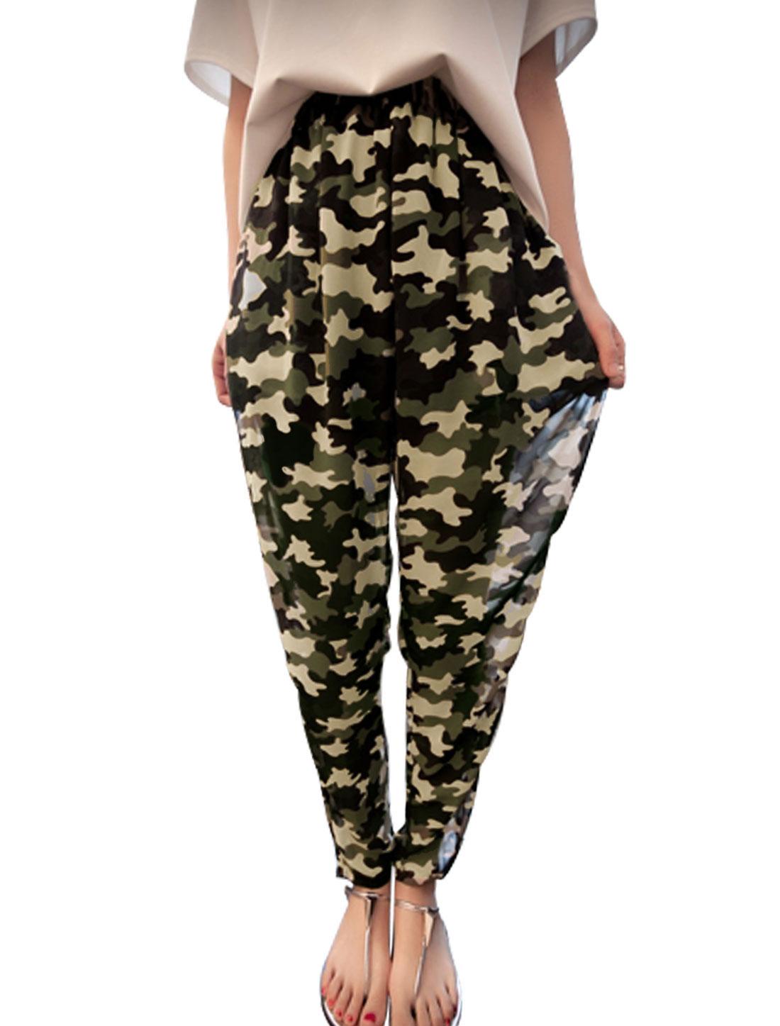 Woman Camouflage Elastic Waist Harem Pants Army Green XS