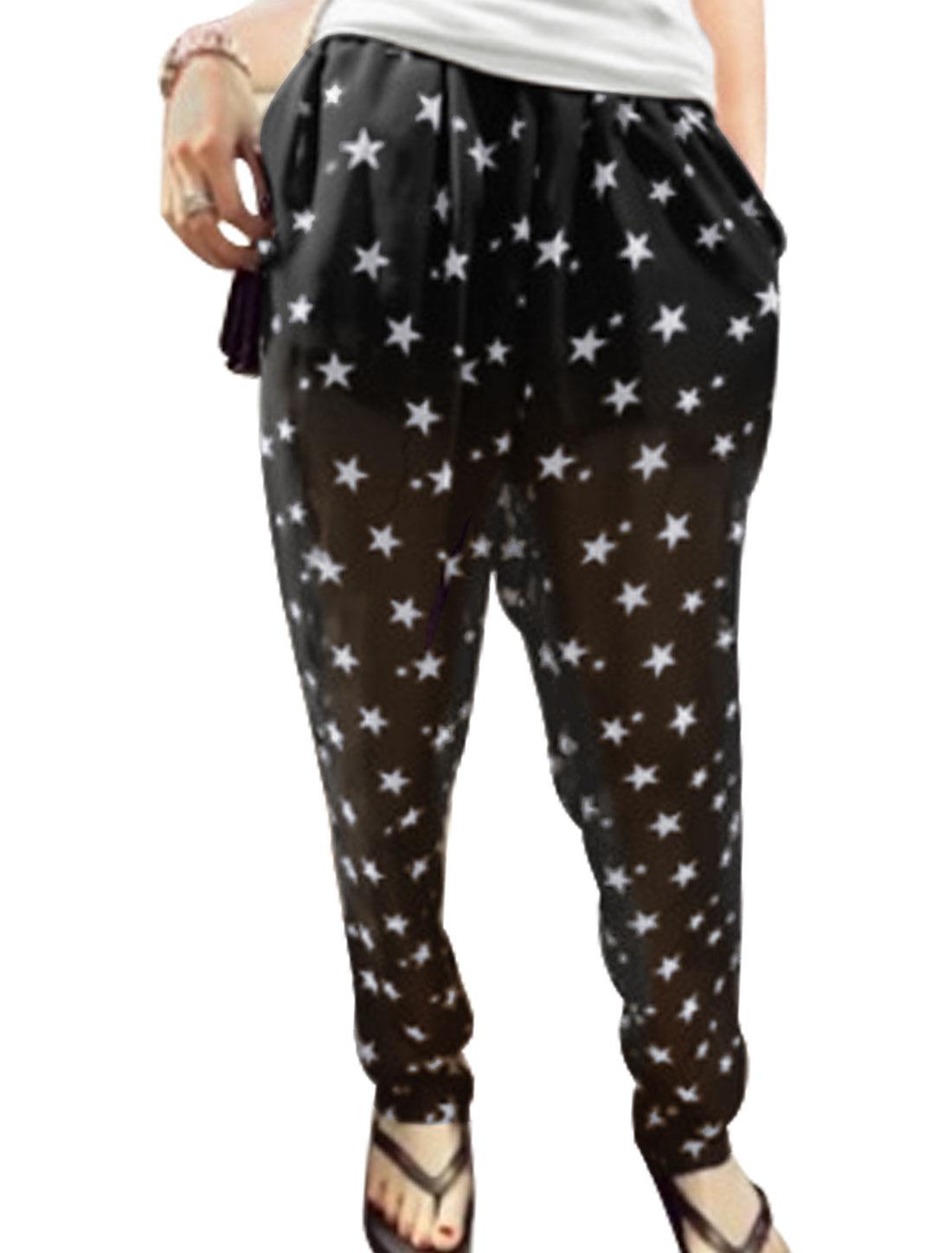 Woman Drawstring Elastic Waist Star Pattern Harem Pants Black XS