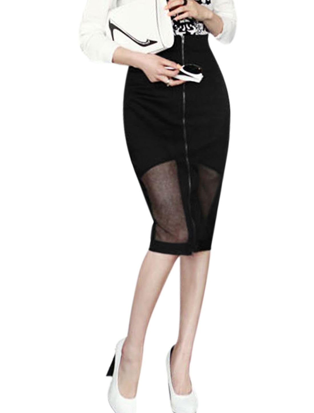 Women Mid Waisted Full Zipper Front Mesh Panel Casual Skirt Black M