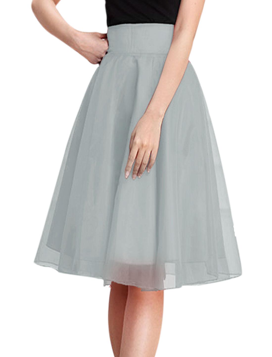 Woman High Waist Concealed Zip Closure A Line Organza Skirt Light Gray M