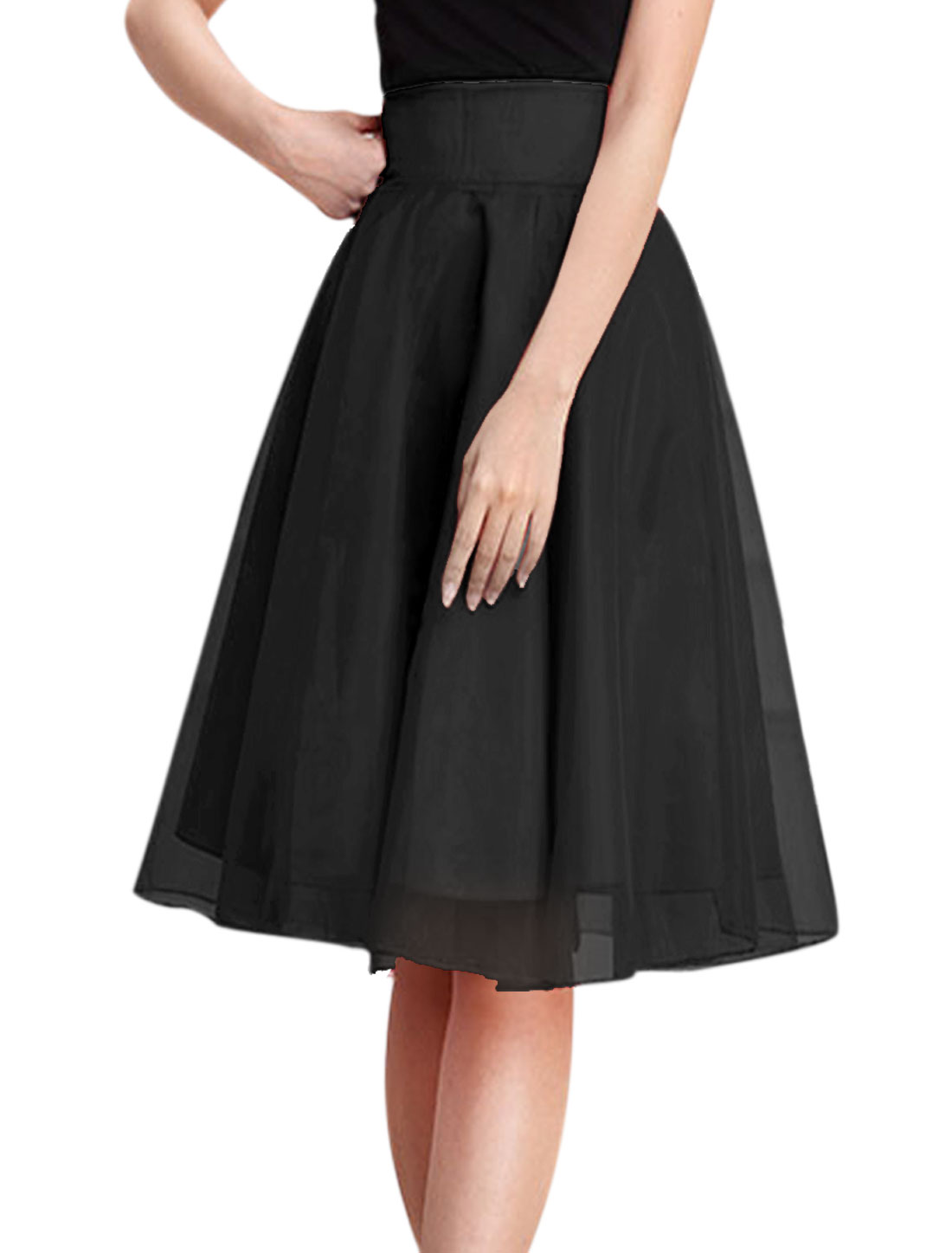 Woman Waist Band Concealed Zipper Fully Lined A Line Organza Skirt Black M