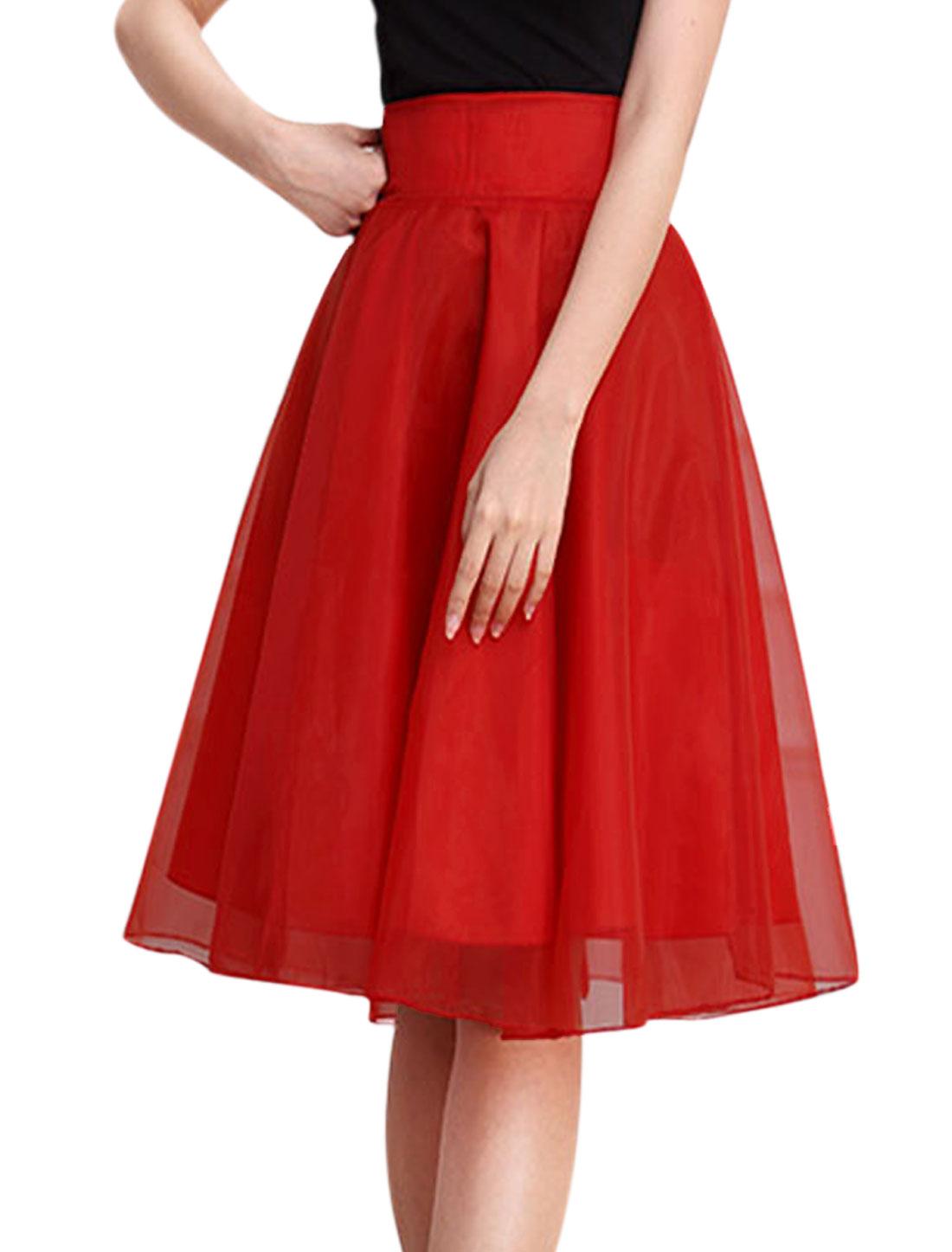 Ladies Waist Band Hidden Zipper Fully Lined A Line Organza Skirt Red M