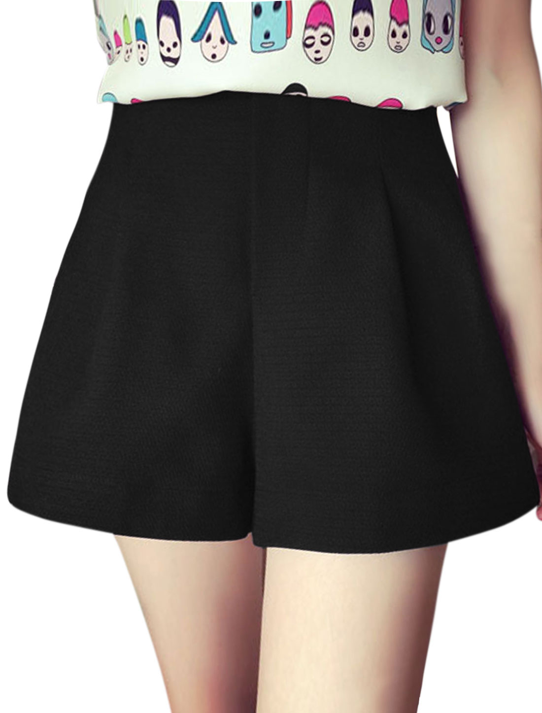 Ladies Pleated Detail Casual High Waisted Shorts Black M