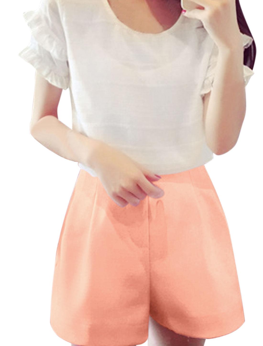 Lady High Rise Elasticized Waist Back Short Shorts Pink S