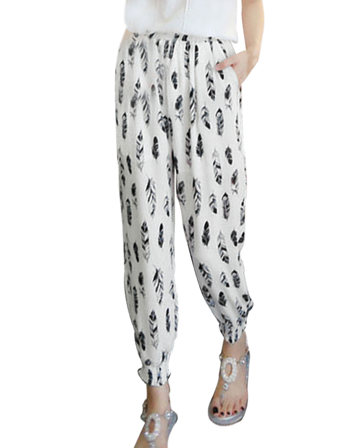 Ladies Mid Rise Feather Print Pockets Harem Casual Cropped Pants White XS