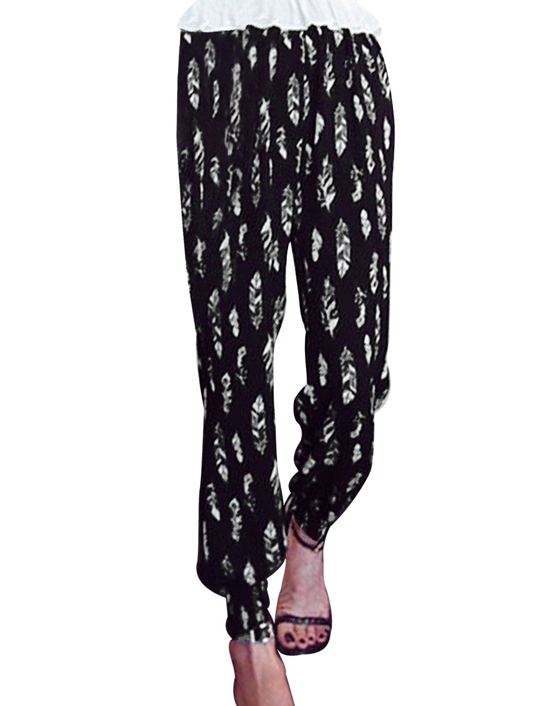 Women Mid Waist Feather Print Pockets Summer Cropped Trousers Black XS
