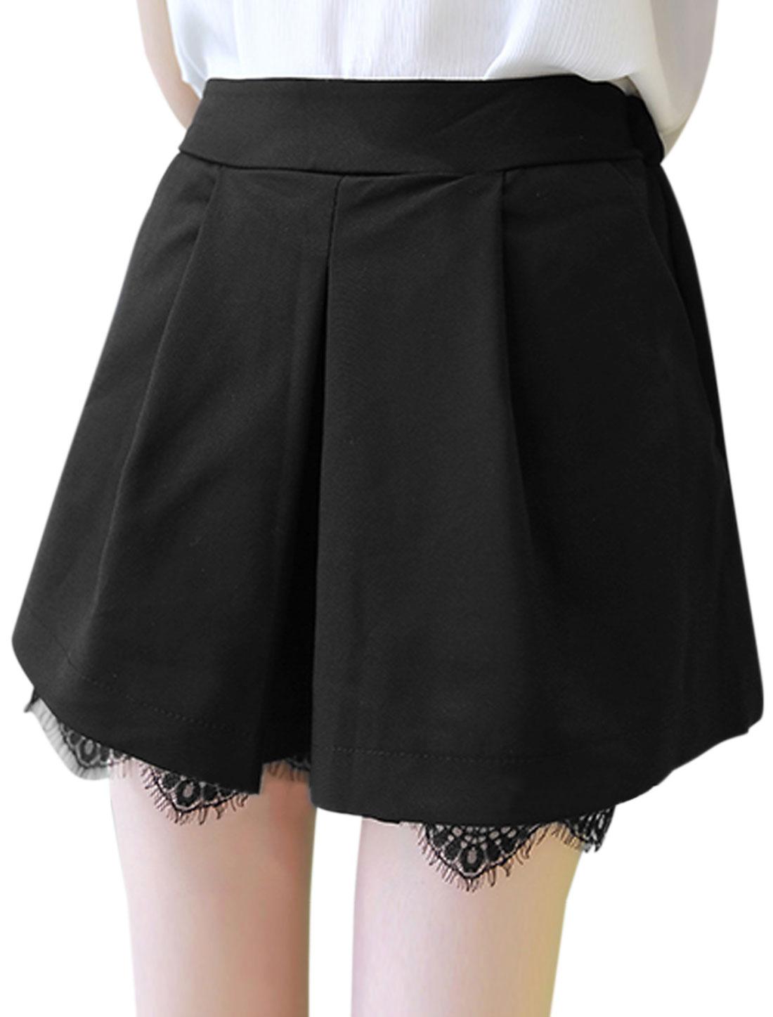 Women Lace Panel Cuffs Elasticized Waist Back Short Shorts Black S