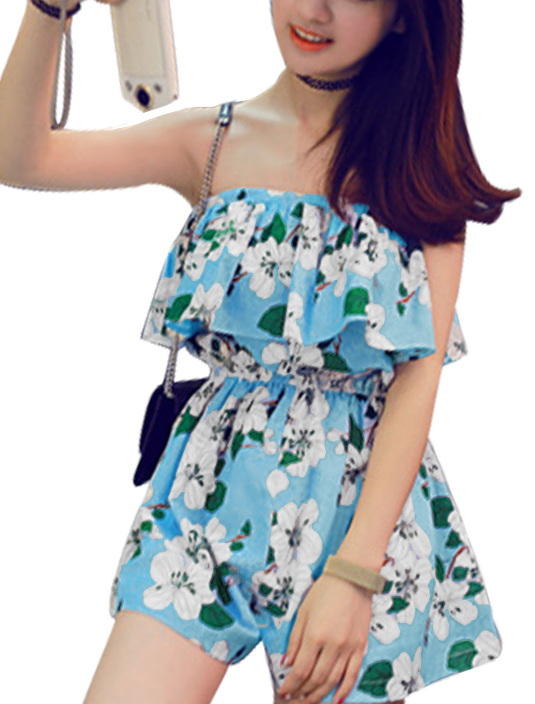Women Floral Pattern Summer Relaxed Cape Style Playsuit Sky Blue White XS