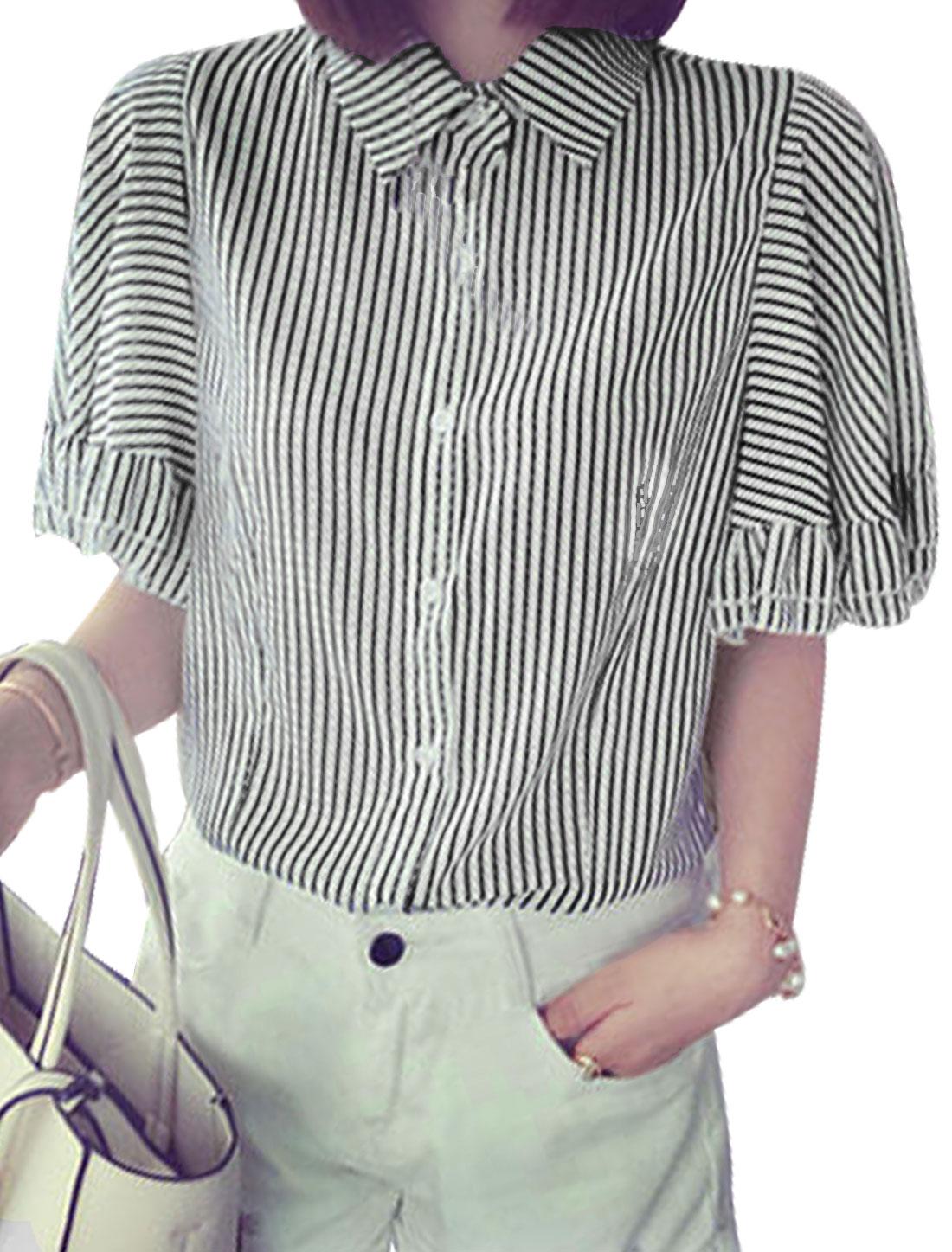 Woman Vertical Stripes Point Collar Short Sleeves Chiffon Shirt White Black XS