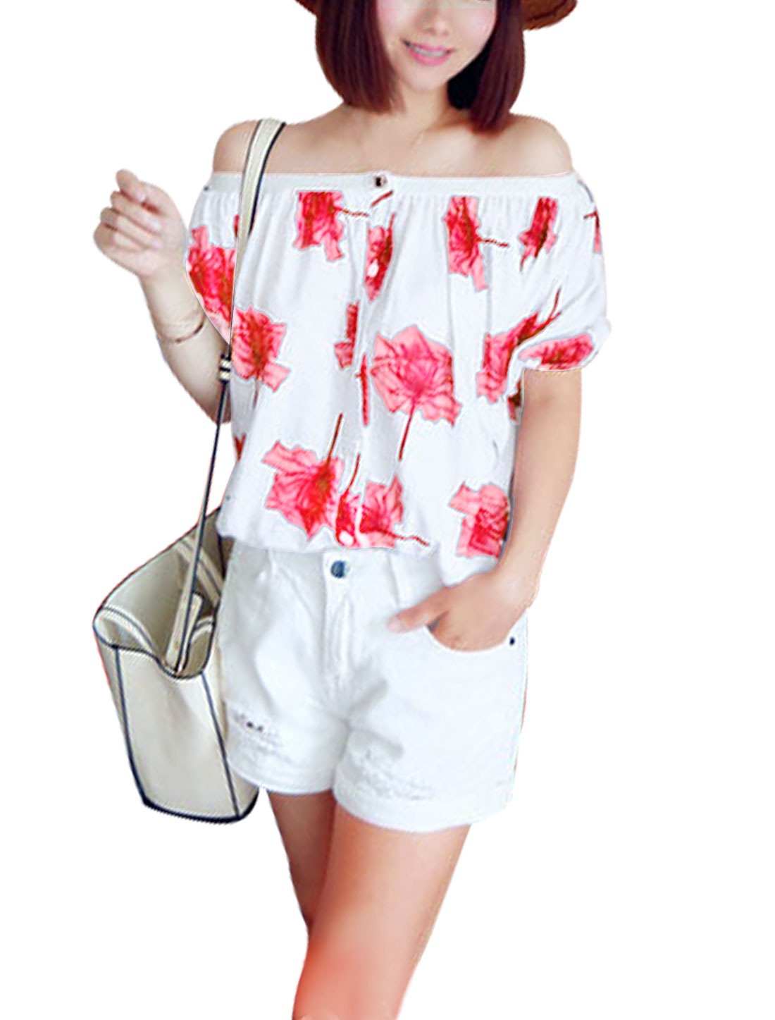 Women Off Shoulder Floral Prints Button Closure Casual Shirts Red White XS