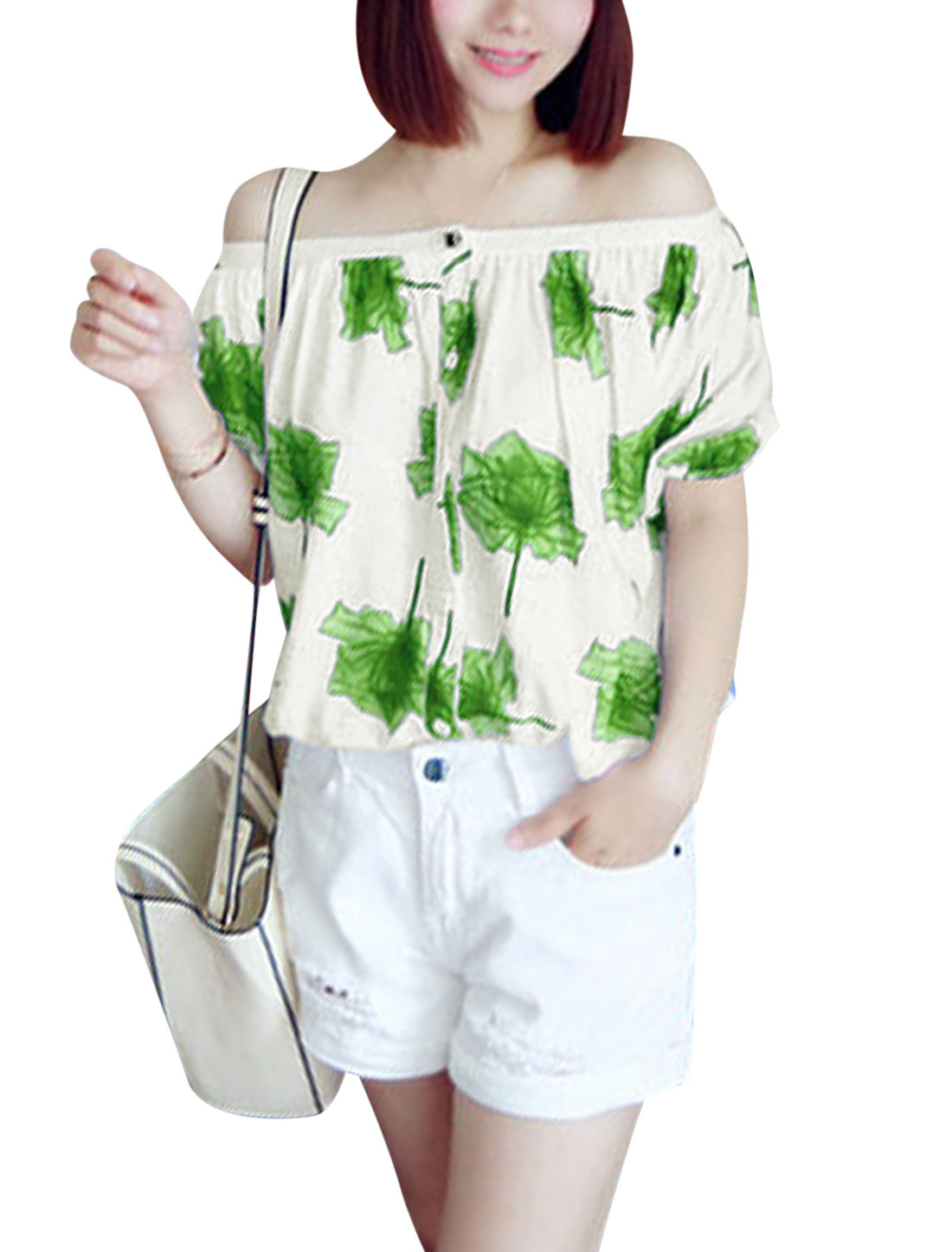 Ladies Off Shoulder Flower Prints Button Down Shirts Green White XS