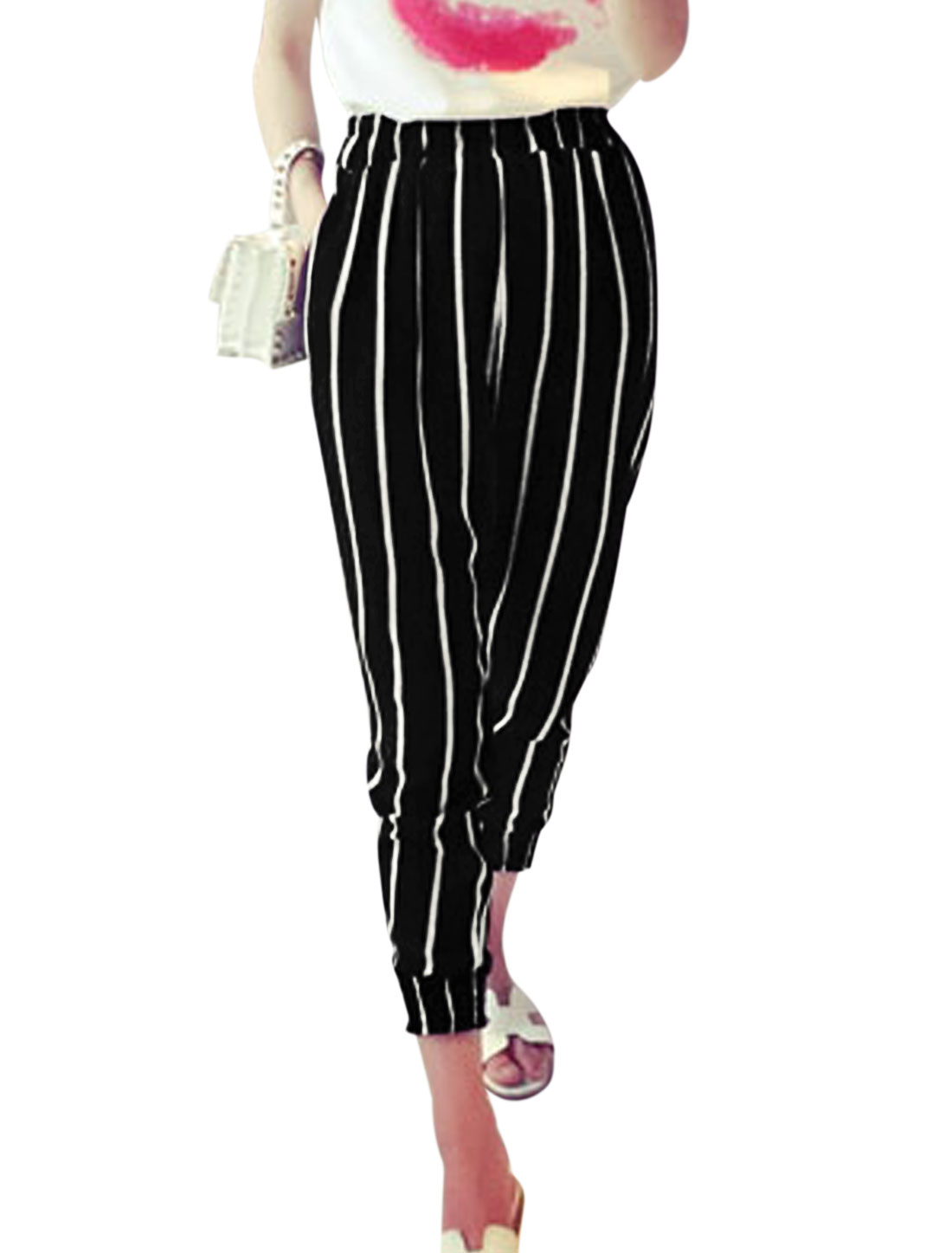 Woman Vertical Stripes Slant Pockets Side Chiffon Cropped Pants Black XS