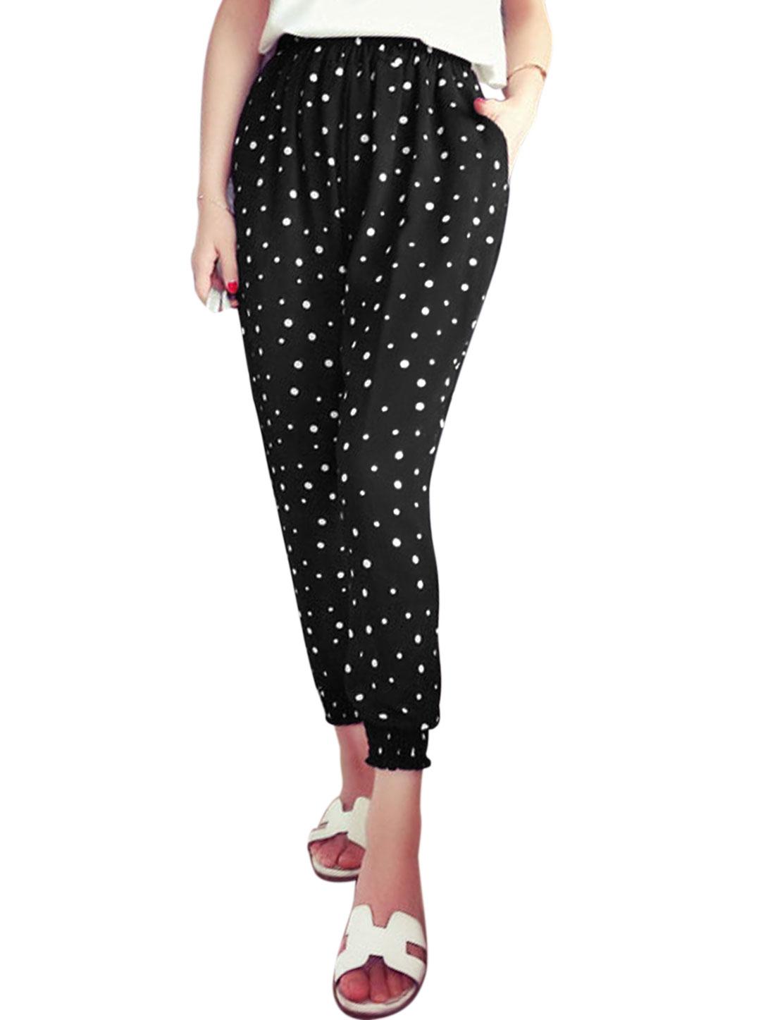 Woman Dots Prints Elastic Thigh Cuffs Chiffon Cropped Pants Black XS