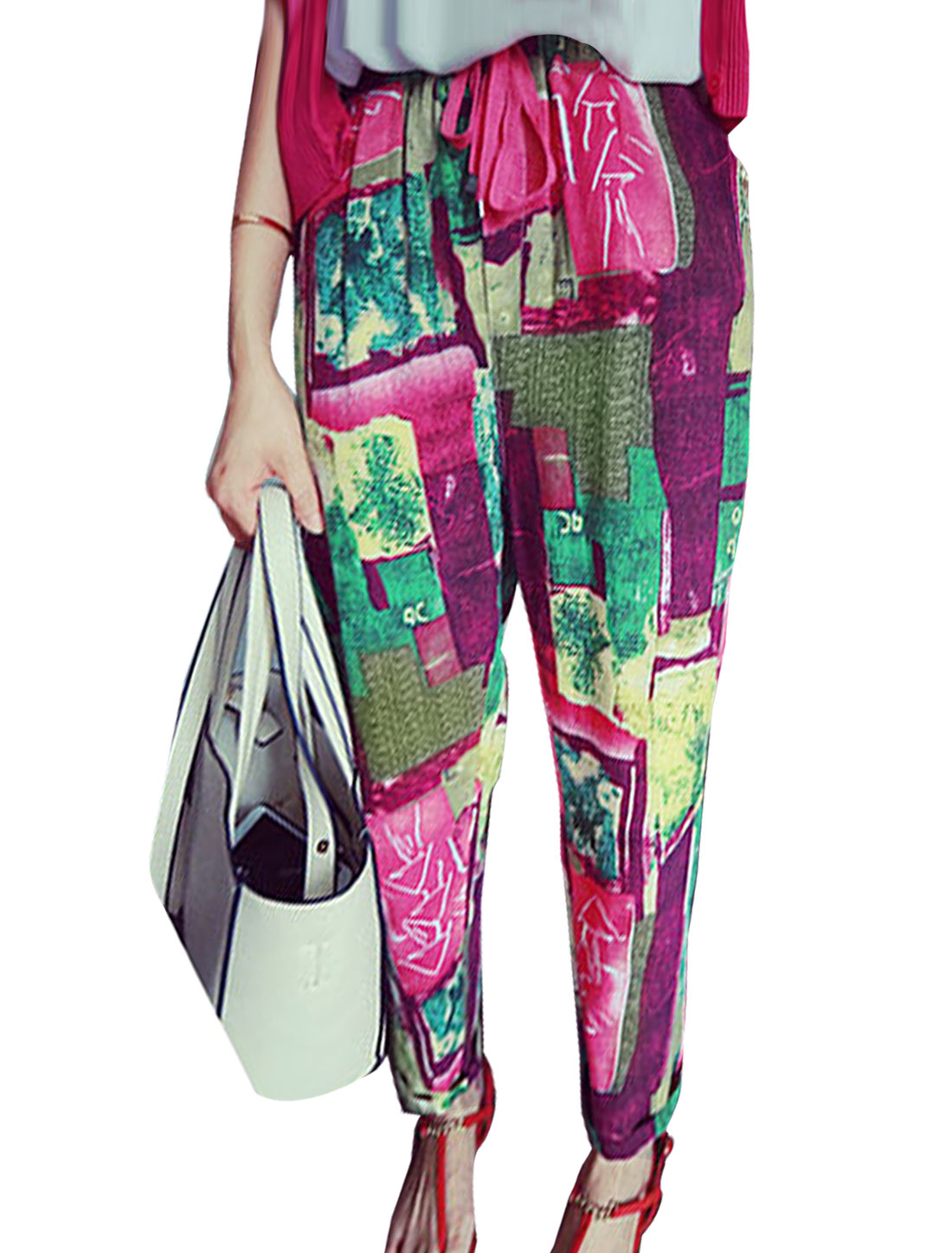Women Geometric Pattern Stretchy Waist Pants Multicolor XS