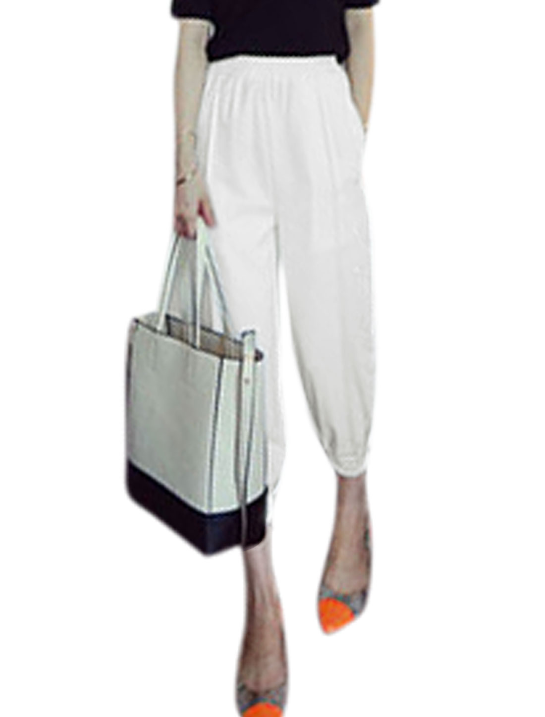 Woman Stretchy Waist Elastic Thigh Cuffs Slant Pockets Cropped Pants White XS