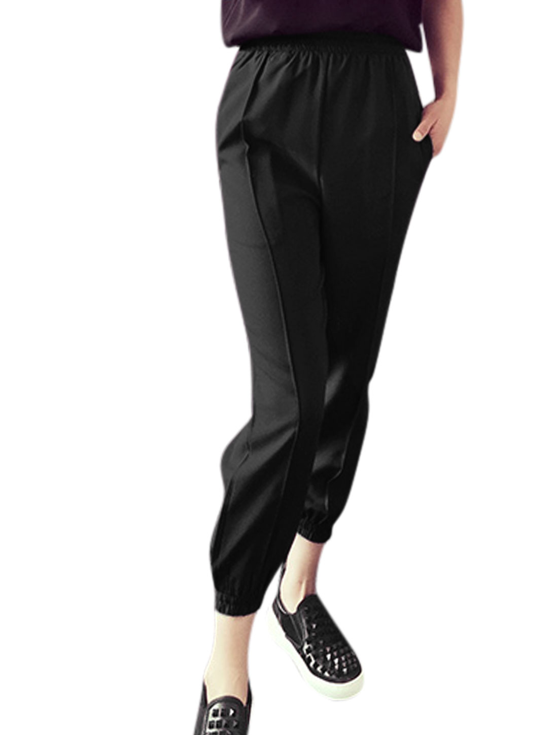 Woman Stretchy Waist Elastic Cuffs Casual Cropped Pants Black XS