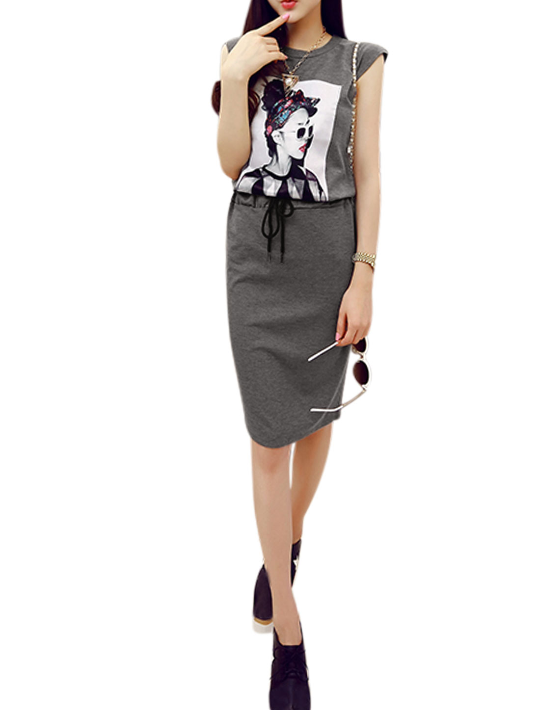 Women Sleeveless Portrait Print Top w Drawstring Casual Skirt Set Dark Gray S
