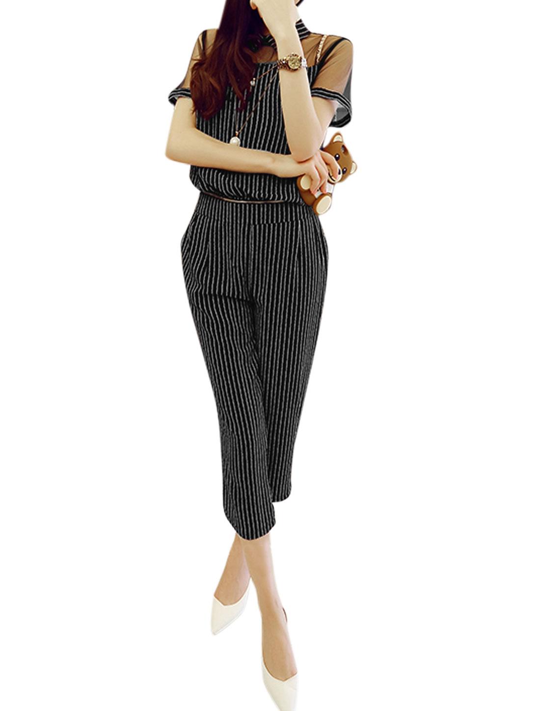 Ladies Vertical Stripes Mesh Panel Removable Jumpsuit Navy Blue S