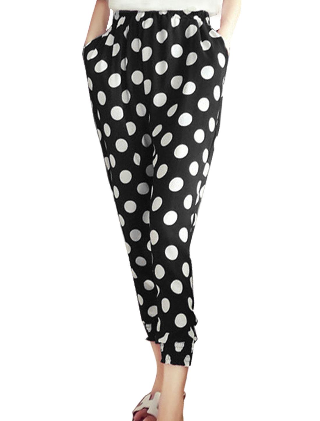 Women Stretchy Waist Dot Pattern Elastic Cuffs Cropped Pants Black XS