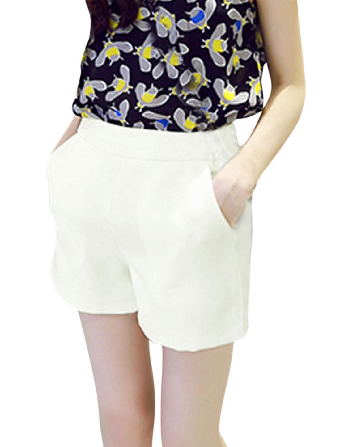 Women High Waist Zip Fly Side Mock Hip Pockets Casual Shorts White S