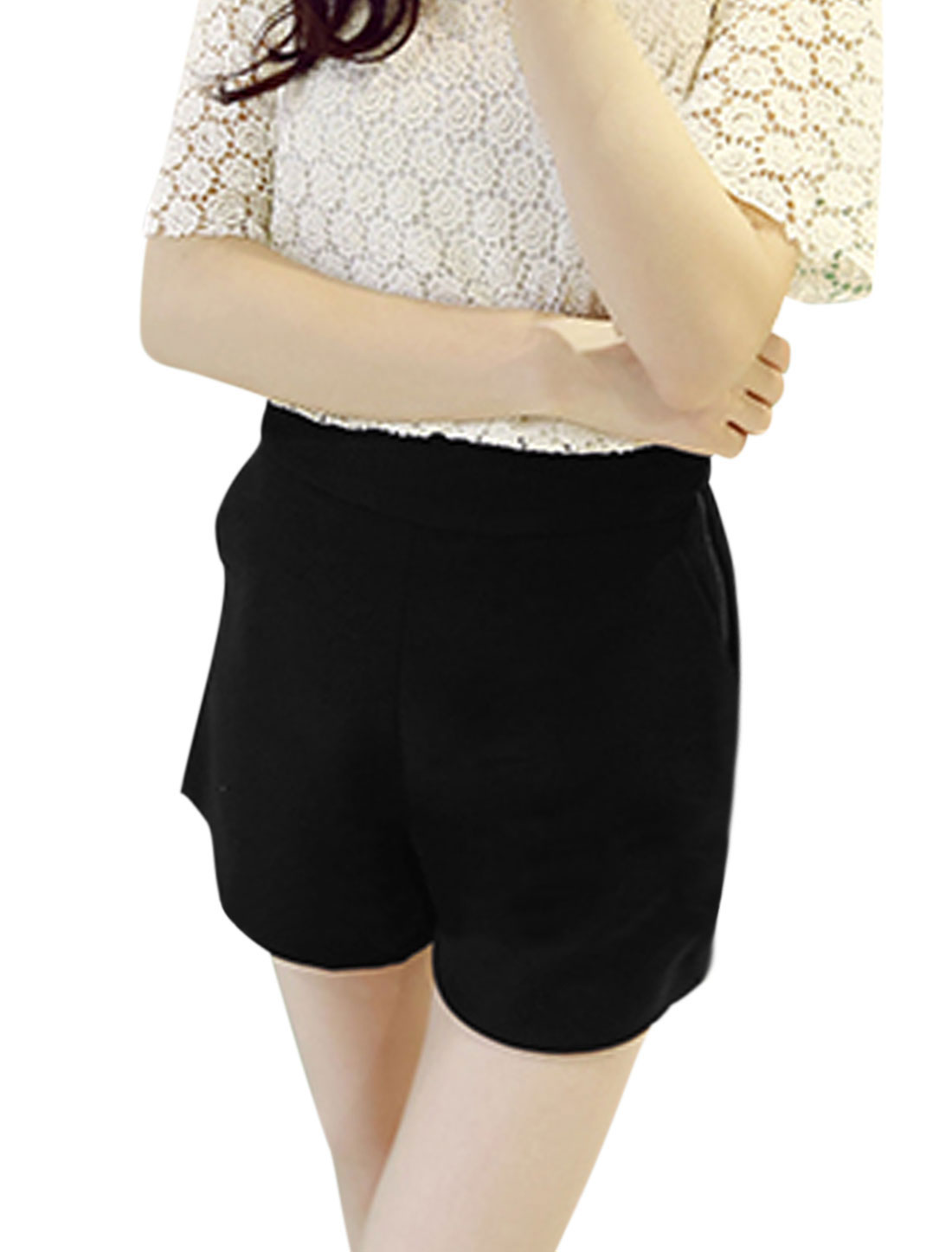 Ladies Zip Fly Side Two Slant Pockets High Waisted Shorts Black S