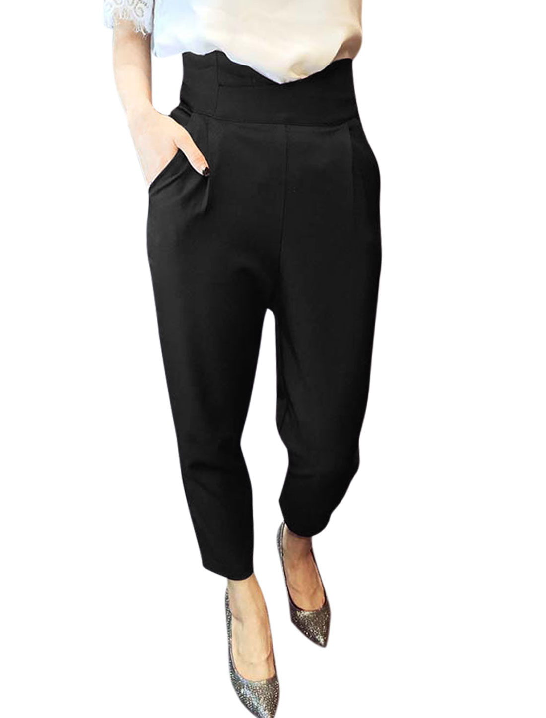 Women High Rise Pleated Detail Zip Fly Back Cropped Pants Black M