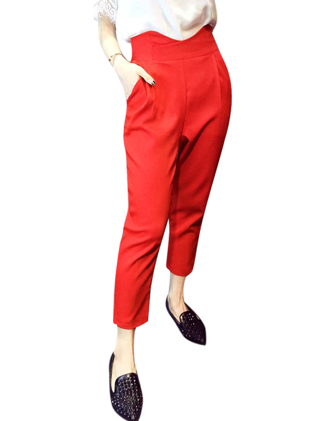 Ladies Two Slant Pockets Zip Fly Back Cropped High Waisted Pants Red M