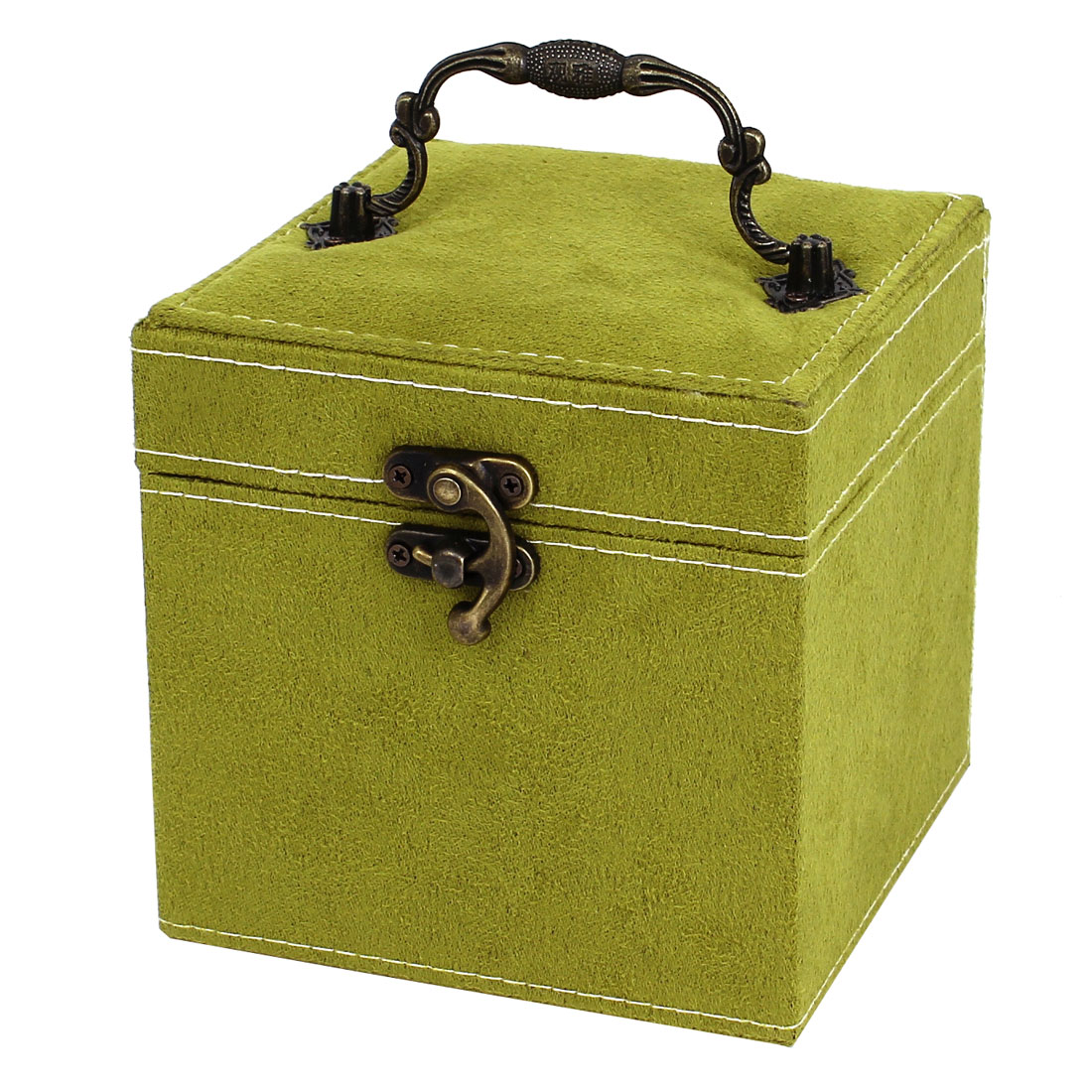 Portable Flannel Wrapped 3-Layers Jewelry Box Case Earrings Rings Organizer Green