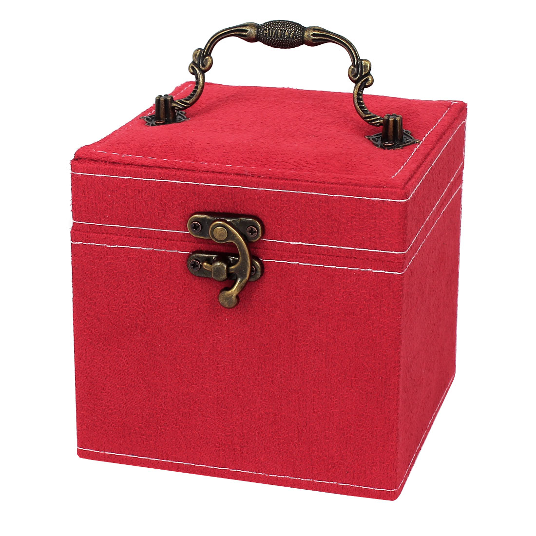 Portable Flannel Wrapped 3-Layers Jewelry Box Case Earrings Rings Organizer Red
