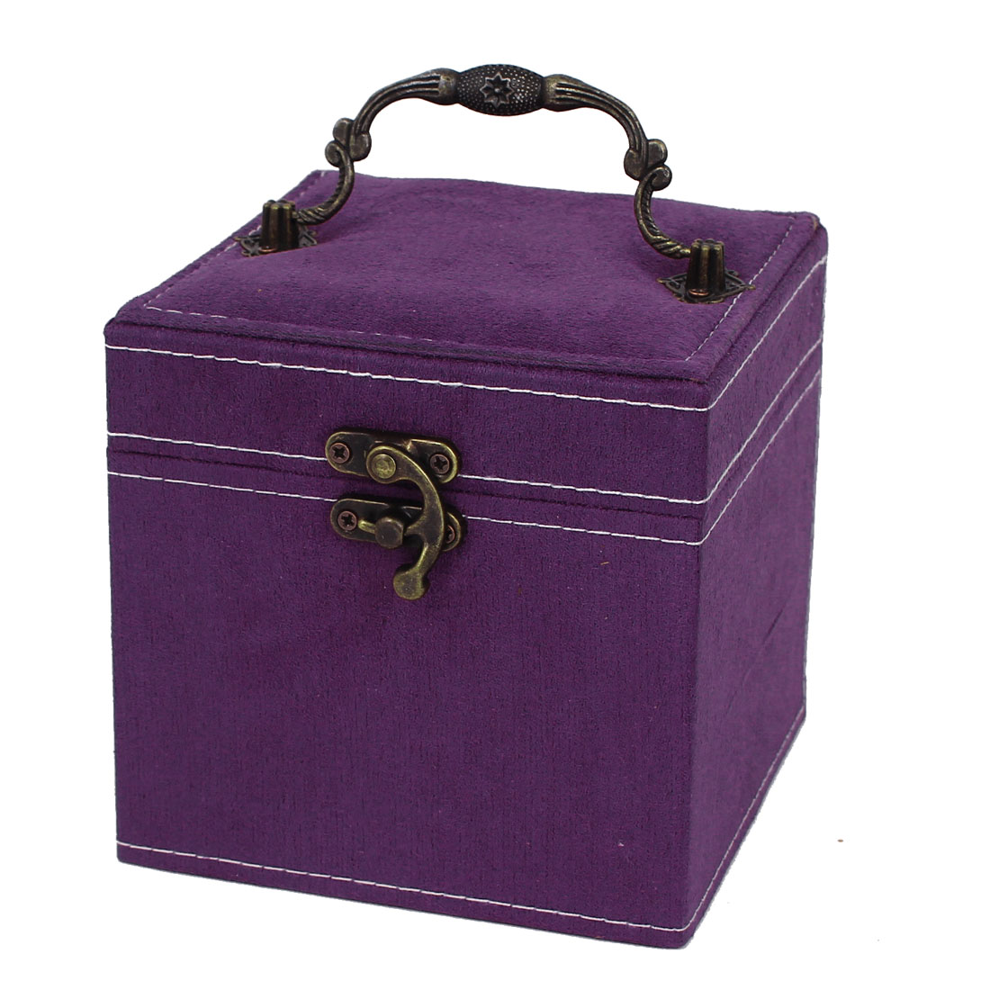 Portable Flannel Wrapped 3-Layers Jewelry Box Case Earrings Rings Organizer Purple