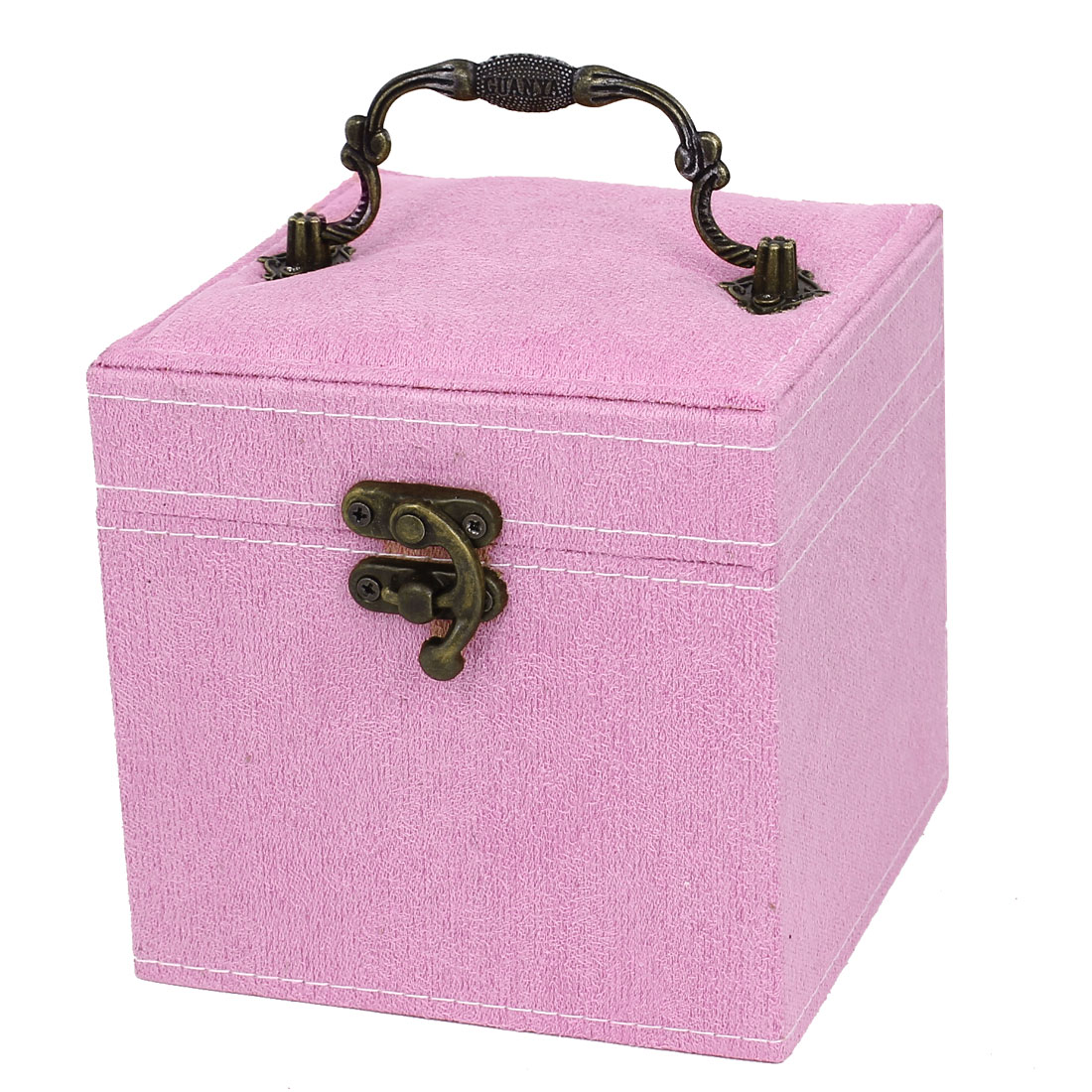 Portable Flannel Wrapped 3-Layers Jewelry Box Case Earrings Rings Organizer Pink