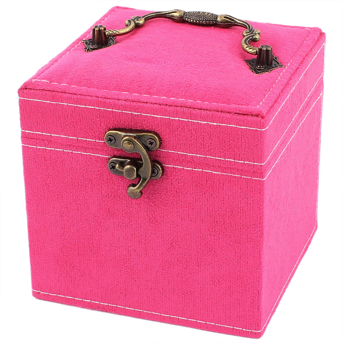 Portable Flannel Wrapped 3-Layers Jewelry Box Case Earrings Rings Organizer Fuchsia