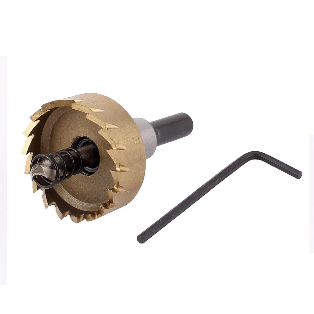35mm Cutting Dia Triangle Shank Metal Iron Cutter HSS Twist Drill Bit Hole Saw