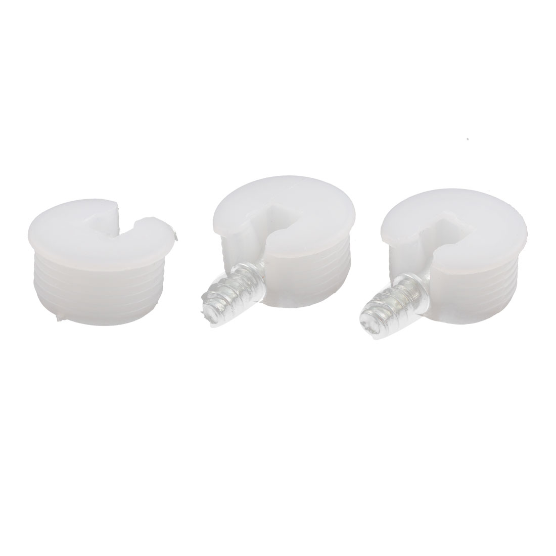 Round Shape White Plastic Screw in Shelf Support Pin Supporter 3Pcs