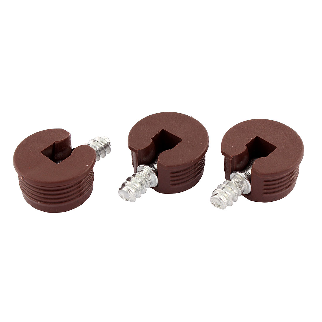 Metal Two-in-One Screw in Shelf Support Pin Supporter Brown 3Pcs