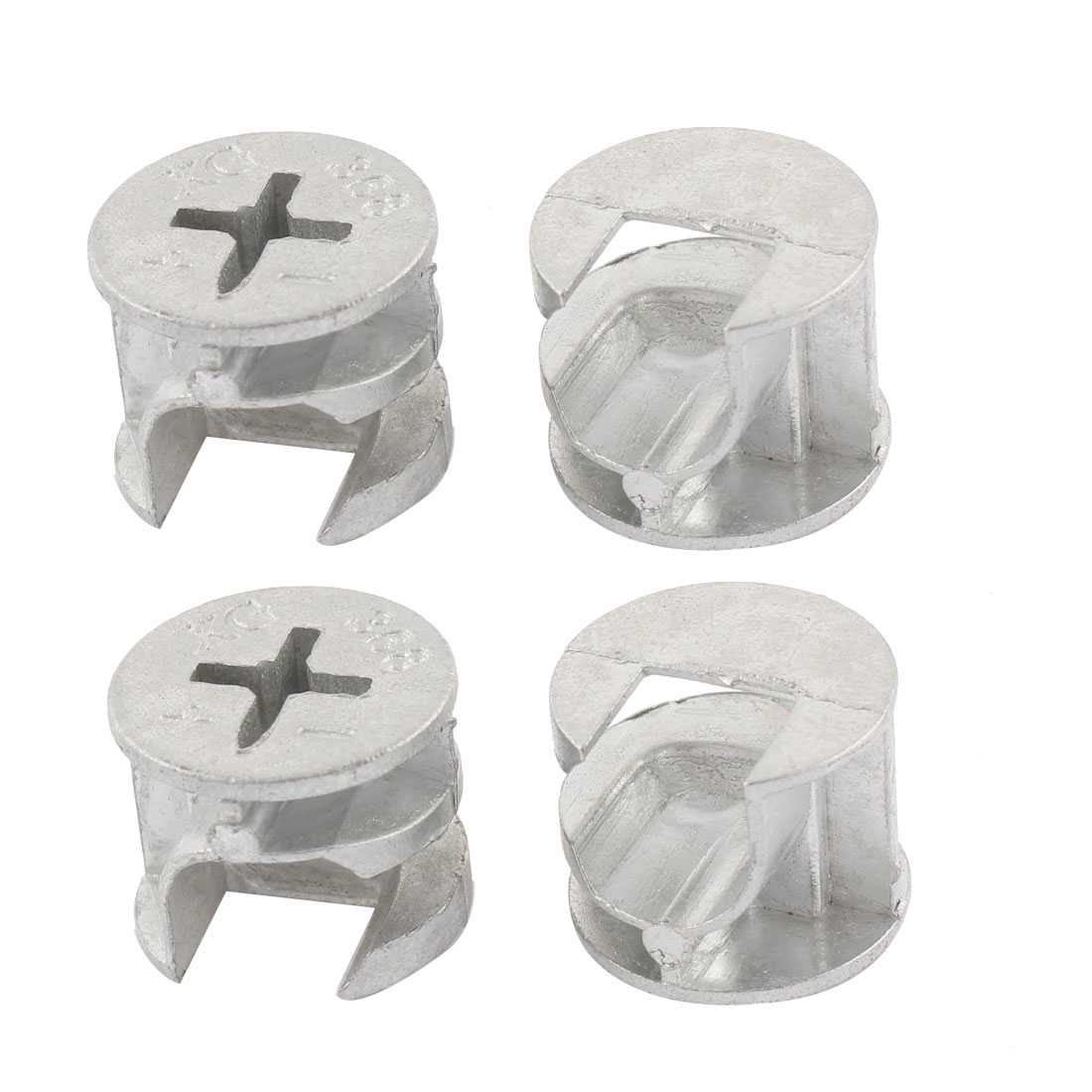 15mm Dia. Cross Head Metal Cabinet Furniture Connect Cam Fittings Silver Tone 4Pcs