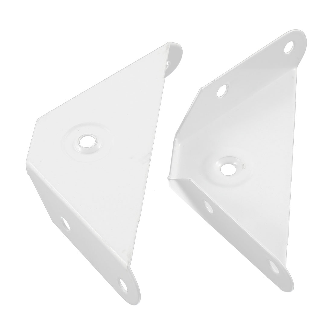 Metal Shelf Corner Brace Cabniet Leg Fasterner Triangle Angle Bracket White 2Pcs