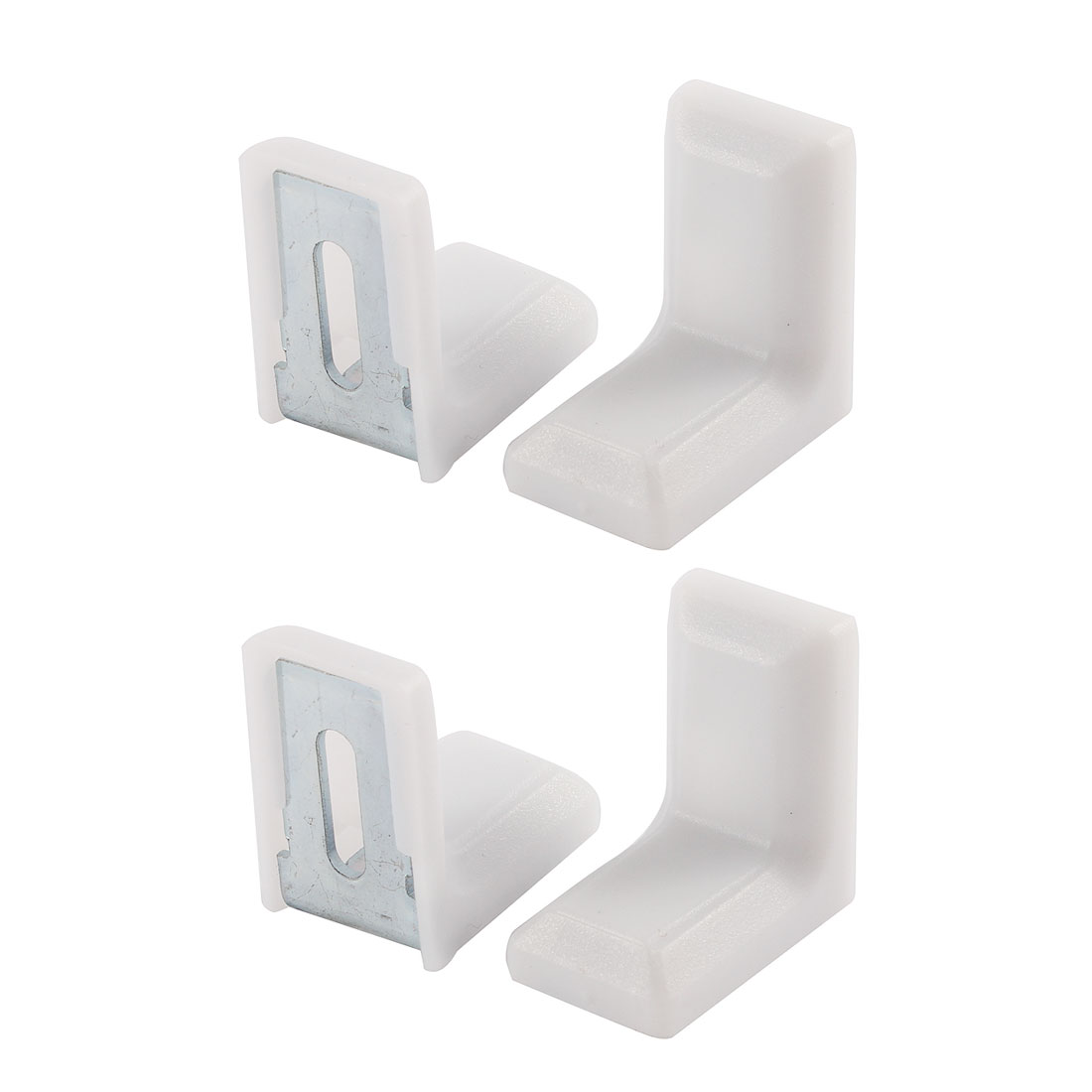 28mmx28mmx19mm Metal Plastic Furniture Cabinet L Angle Bracket White 4Pcs