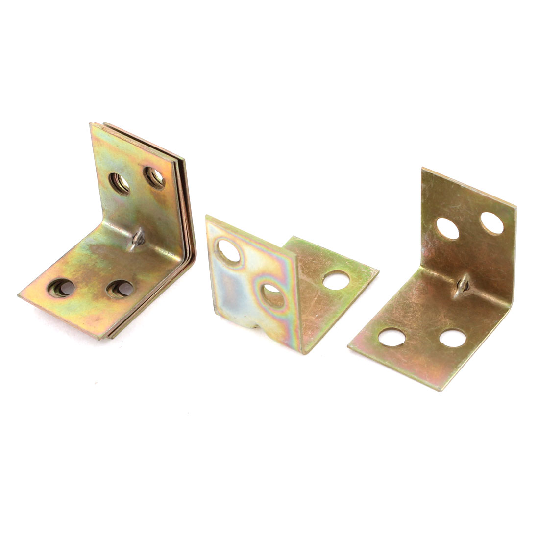 21mmx21mmx16mm Shelf Door 90 Degree 4Hole Corner Angle Brackets Brass Tone 6Pcs